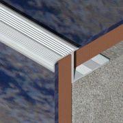 Protectie Lineco pentru trepte ceramice dreapta din aluminiu eloxat - LDA105