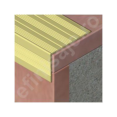 Protectie treapta Prolux lata cu rizuri din aluminiu eloxat - ASR417