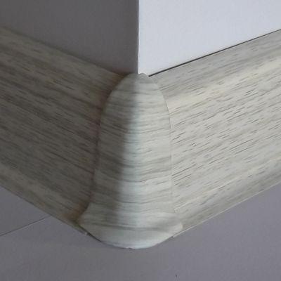 Set 4 buc. piese Lineco imbinare colt exterior culoare frasin alb pentru plinta parchet PBC605 - PBE605. 280-S4