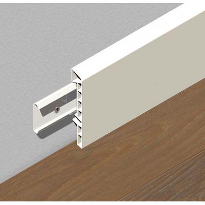 Plinta din PVC rigid cu clipsuri, 83 mm, 2, 5 m lungime, culoare alb