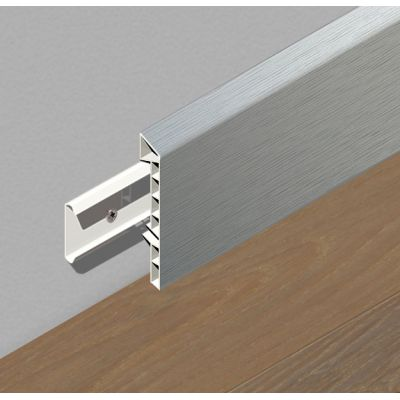 Plinta din PVC rigid cu clipsuri, 83 mm, 2, 5 m lungime, culoare gri deschis